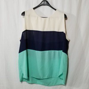 Monteau sleeveless white blue green blouse